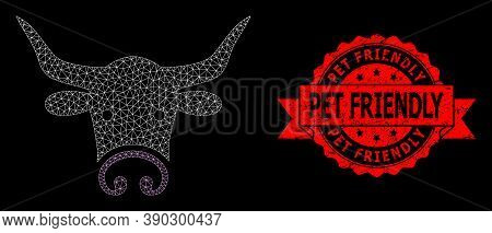 Mesh Polygonal Bull Head On A Black Background, And Pet Friendly Grunge Ribbon Seal Print. Red Stamp