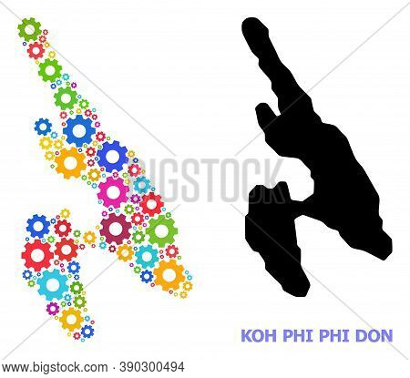 Vector Mosaic Map Of Koh Phi Don Constructed For Engineering. Mosaic Map Of Koh Phi Don Is Done With