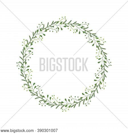 Round Elegant Frame With Twigs, Green Leaves, Berries. Floral Wreath For Festive Decoration. Stylish