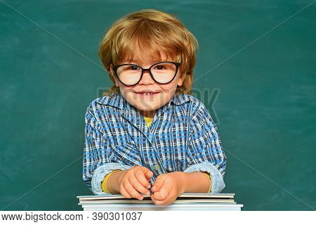 Back To School - Education Concet. Blackboard Background - Copy Space. Elementary School And Educati