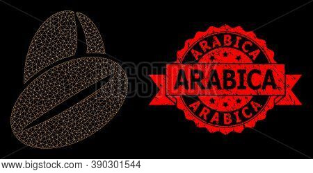 Mesh Polygonal Cacao Beans On A Black Background, And Arabica Unclean Ribbon Seal. Red Seal Has Arab