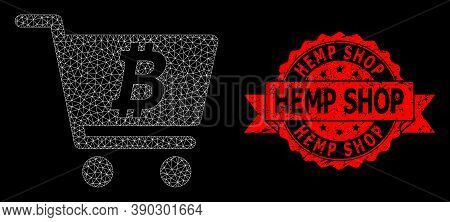 Mesh Net Bitcoin Webshop On A Black Background, And Hemp Shop Unclean Ribbon Seal Print. Red Seal Ha
