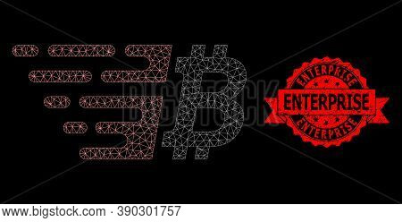 Mesh Network Bitcoin On A Black Background, And Enterprise Dirty Ribbon Stamp. Red Stamp Includes En