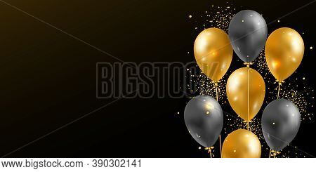 Vector Background With 3d Realistic Glossy Helium Balloons And Golden Shiny Confetti. Festive Templa
