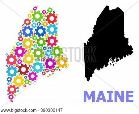 Vector Mosaic Map Of Maine State Designed For Engineering. Mosaic Map Of Maine State Is Created With