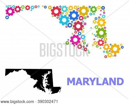 Vector Mosaic Map Of Maryland State Constructed For Engineering. Mosaic Map Of Maryland State Is For
