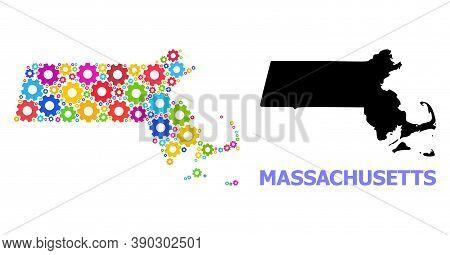 Vector Mosaic Map Of Massachusetts State Organized For Mechanics. Mosaic Map Of Massachusetts State