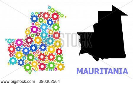 Vector Mosaic Map Of Mauritania Designed For Workshops. Mosaic Map Of Mauritania Is Designed With Ra