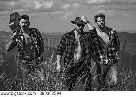 Hiking Team. Camping Hiking Journey Travel Trek Concept. Young People On Country Walk. Female Enjoyi