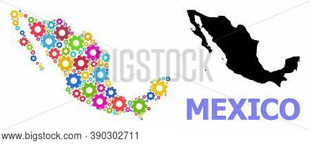 Vector Mosaic Map Of Mexico Constructed For Engineering. Mosaic Map Of Mexico Is Created From Random