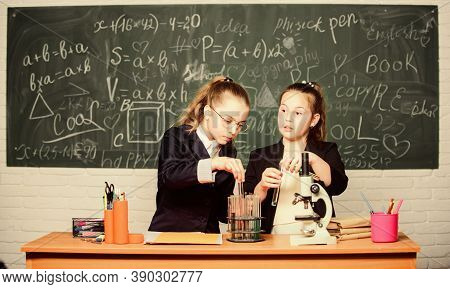 Science Concept. Gymnasium Students With In Depth Study Of Natural Sciences. Girls School Uniform Bu