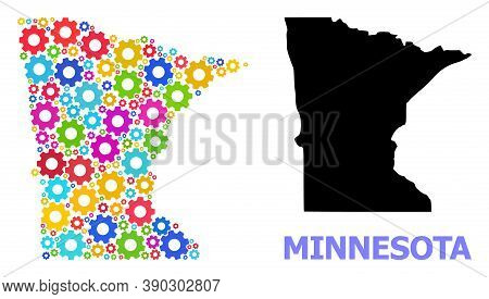 Vector Mosaic Map Of Minnesota State Constructed For Engineering. Mosaic Map Of Minnesota State Is D