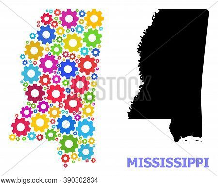 Vector Mosaic Map Of Mississippi State Designed For Engineering. Mosaic Map Of Mississippi State Is