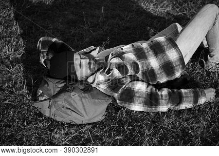 Everyday Is A New Adventure. Bearded Man Resting On Ground During His Hiking Adventure. Hipster Hike