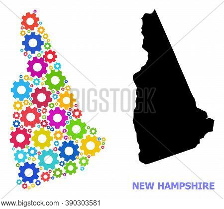 Vector Composition Map Of New Hampshire State Organized For Engineering. Mosaic Map Of New Hampshire