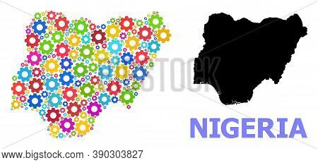 Vector Mosaic Map Of Nigeria Done For Engineering. Mosaic Map Of Nigeria Is Created Of Random Multi-
