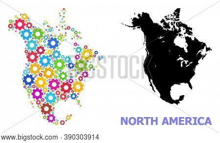 Vector Mosaic Map Of North America Constructed For Workshops. Mosaic Map Of North America Is Compose