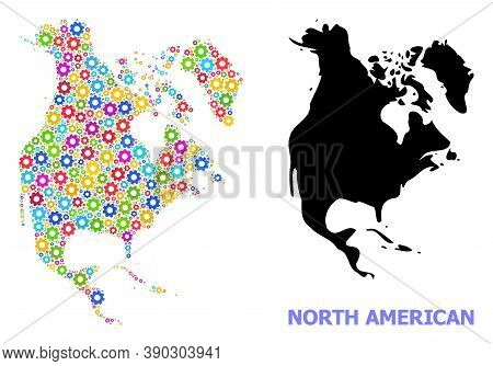 Vector Composition Map Of North America Designed For Services. Mosaic Map Of North America Is Design