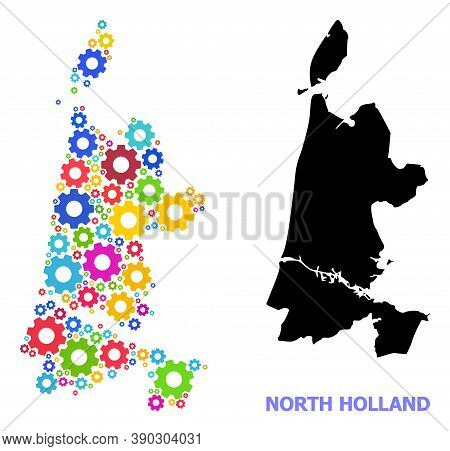 Vector Mosaic Map Of North Holland Created For Engineering. Mosaic Map Of North Holland Is Made From