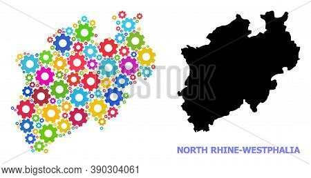 Vector Collage Map Of North Rhine-westphalia State Created For Engineering. Mosaic Map Of North Rhin