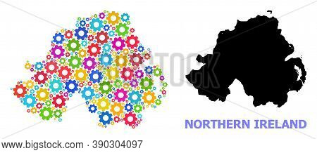 Vector Collage Map Of Northern Ireland Organized For Engineering. Mosaic Map Of Northern Ireland Is