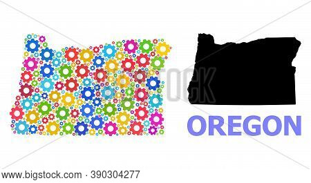 Vector Mosaic Map Of Oregon State Done For Engineering. Mosaic Map Of Oregon State Is Done From Scat