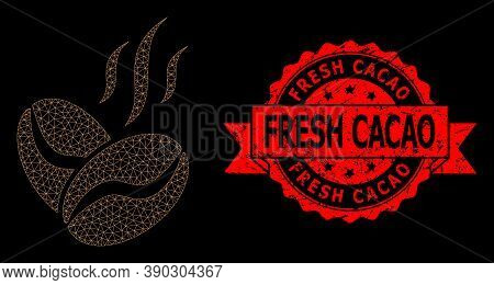 Mesh Polygonal Coffee Beans Aroma On A Black Background, And Fresh Cacao Unclean Ribbon Stamp Seal.