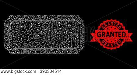 Mesh Net Ticket Frame On A Black Background, And Granted Dirty Ribbon Stamp Seal. Red Stamp Includes