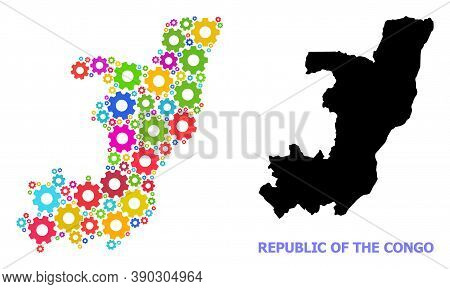 Vector Collage Map Of Republic Of The Congo Combined For Engineering. Mosaic Map Of Republic Of The