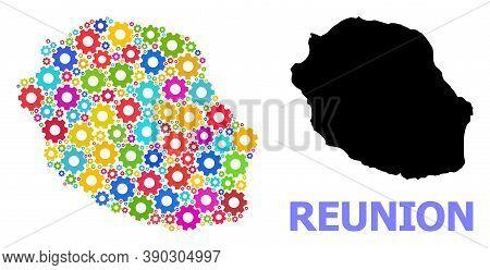 Vector Mosaic Map Of Reunion Island Constructed For Services. Mosaic Map Of Reunion Island Is Constr