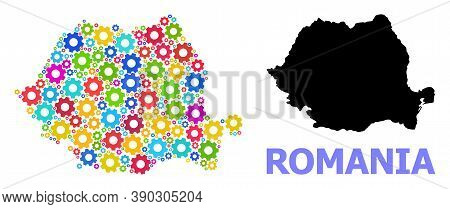 Vector Mosaic Map Of Romania Combined For Engineering. Mosaic Map Of Romania Is Constructed With Ran