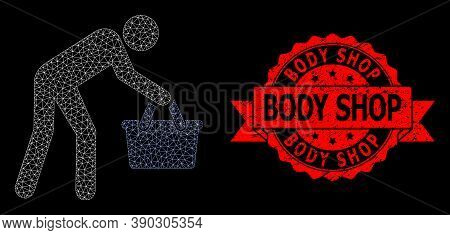 Mesh Network Tired Buyer Persona On A Black Background, And Body Shop Dirty Ribbon Stamp. Red Stamp