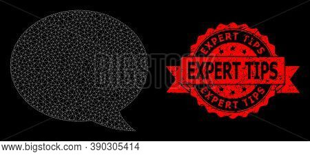 Mesh Web Message Cloud On A Black Background, And Expert Tips Unclean Ribbon Stamp Seal. Red Stamp S