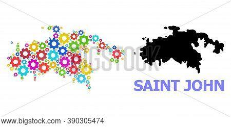Vector Mosaic Map Of Saint John Island Created For Services. Mosaic Map Of Saint John Island Is Crea