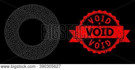 Mesh Polygonal Donut On A Black Background, And Void Scratched Ribbon Stamp Seal. Red Stamp Seal Has