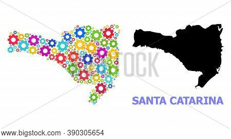 Vector Mosaic Map Of Santa Catarina State Constructed For Engineering. Mosaic Map Of Santa Catarina