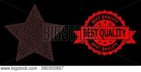Mesh Network Red Star On A Black Background, And Best Quality Scratched Ribbon Seal Imitation. Red S