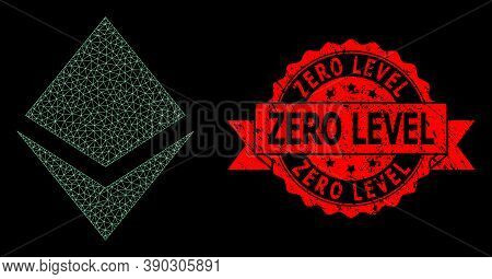 Mesh Web Crystal On A Black Background, And Zero Level Scratched Ribbon Stamp Seal. Red Stamp Seal C