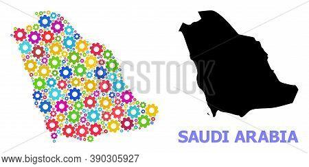 Vector Mosaic Map Of Saudi Arabia Done For Workshops. Mosaic Map Of Saudi Arabia Is Done With Random