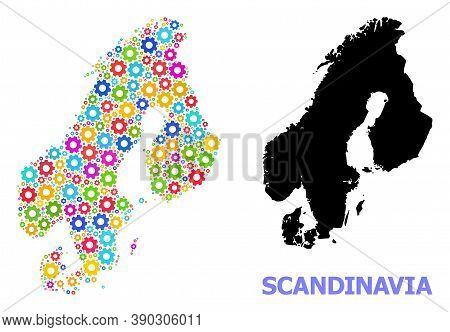 Vector Composition Map Of Scandinavia Created For Engineering. Mosaic Map Of Scandinavia Is Created