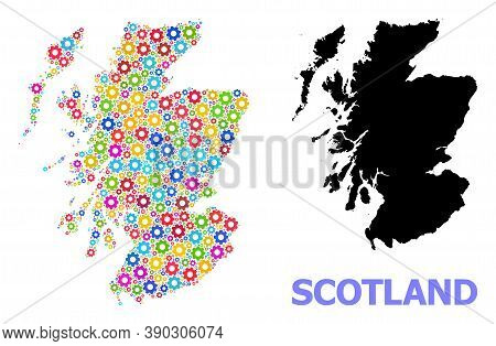 Vector Mosaic Map Of Scotland Created For Engineering. Mosaic Map Of Scotland Is Created With Random