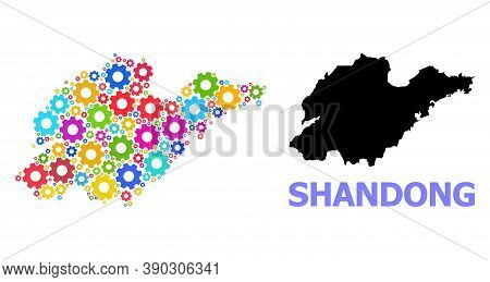 Vector Mosaic Map Of Shandong Province Organized For Services. Mosaic Map Of Shandong Province Is Co