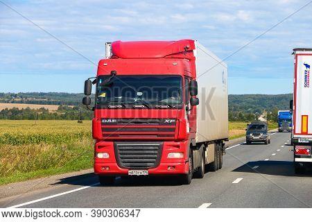 Nizhny Novgorod Region, Russia - August 21, 2020: Red Semi-trailer Truck Daf Xf At The Interurban Ro