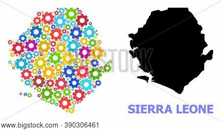 Vector Mosaic Map Of Sierra Leone Combined For Engineering. Mosaic Map Of Sierra Leone Is Done With