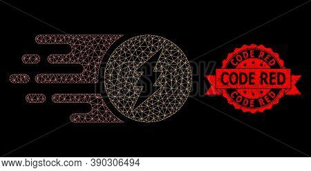 Mesh Network Electric Charge On A Black Background, And Code Red Textured Ribbon Stamp Seal. Red Sta