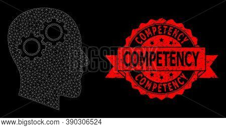 Mesh Polygonal Head Gears On A Black Background, And Competency Rubber Ribbon Stamp Seal. Red Stamp