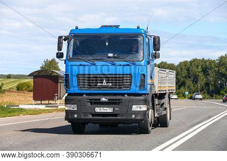 Nizhny Novgorod Region, Russia - August 21, 2020: Blue Flatbed Truck Maz 5340 At The Interurban Road