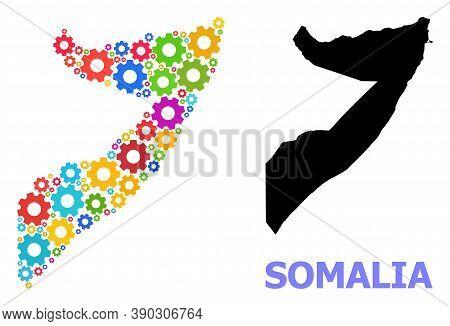 Vector Mosaic Map Of Somalia Organized For Engineering. Mosaic Map Of Somalia Is Organized Of Scatte