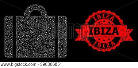 Mesh Polygonal Luggage On A Black Background, And Ibiza Scratched Ribbon Stamp Seal. Red Stamp Seal