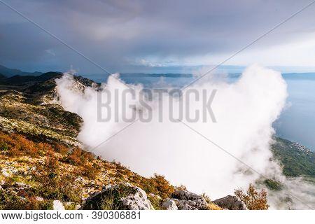 Beautiful Light Cloud On The Sea Background. View From The Mountain Biokovo, Croatia. Top View, Copy